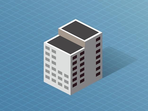 Einzelgebäude in der innenstadt isometrisches 3d-dimensionales haus der modernen architektur des stadtbaus.