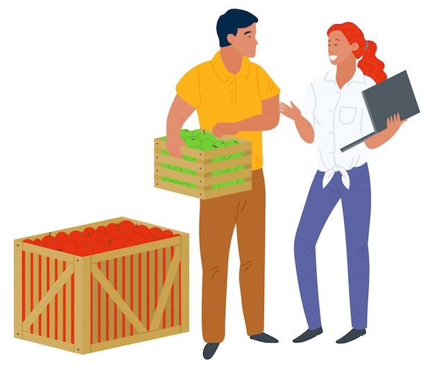 Einzelhandel mit obst, äpfel pflücken, geschäfts-vektor