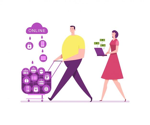 Einzelhandel und online-shopping. flache illustration der jungen paareinkaufsvektorkarikatur. e-commerce-konzept illustration.