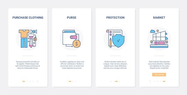 Einzelhandels-shopping online-geldschutz ux ui onboarding mobile app-seitenbildschirmsatz