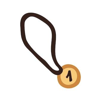 Einzelne clipart-goldmedaille. nette gezeichnete illustration des vektors hand. sportlicher lebensstil. sieger in der meisterschaft. isoliert auf weißem hintergrund.