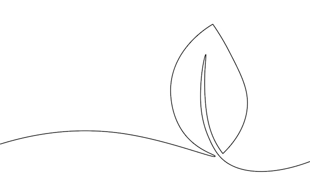 Einzelne durchgehende linie kunst wachsender spross. pflanze blätter samen wachsen boden sämling öko natürliche farm konzept design eine skizze umrisszeichnung vektor-illustration.