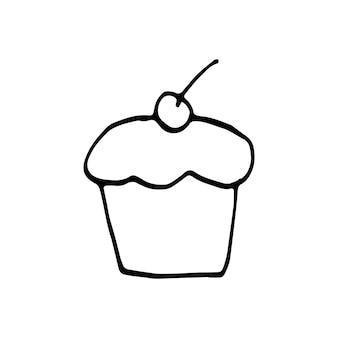Einzelne handgezeichnete cupcake-muffin-doodle-vektor-illustration im süßen skandinavischen stil