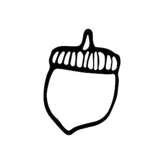 Einzelne handgezeichnete eichel für die herbstdekoration. doodle-vektor-illustration. isoliert auf weißem hintergrund