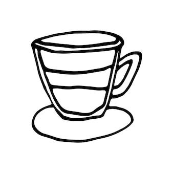 Einzelne handgezeichnete tasse kaffee, schokolade, kakao, americano oder cappuccino. gekritzelillustration