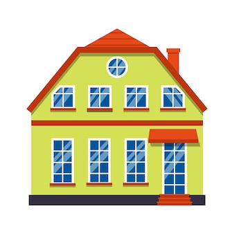 Einzelne karikaturhaus bunte architektur amsterdam. stadthaus der nahaufnahmegrafikikone, europäischer stil. flaches städtisches gebäude, hohe stadt und vorstadthaus. auf weißer illustration isoliert