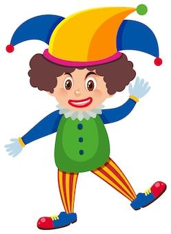 Einzelner charakter des lustigen clowns auf weiß