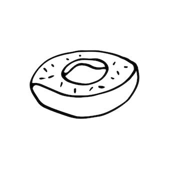 Einzelner handgezeichneter donut