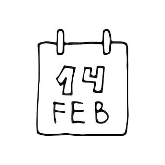 Einzelner handgezeichneter elementkalender, 14. februar für grußkarten, poster, aufkleber und saisonales design. isoliert auf weißem hintergrund. doodle-vektor-illustration.