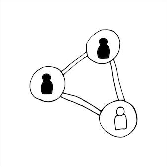 Einzelnes element der menschenkommunikation im doodle-business-set. handgezeichnete vektorgrafik für karten, poster, aufkleber und professionelles design.