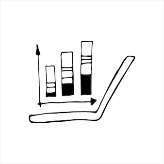 Einzelnes element des diagramms auf laptop im doodle-business-set. handgezeichnete vektorgrafik für karten, poster, aufkleber und professionelles design.