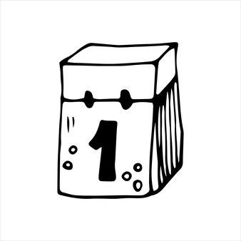 Einzelnes element des kalenders im doodle-business-set. handgezeichnete vektorgrafik für karten, poster, aufkleber und professionelles design.