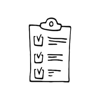 Einzelnes element des kontrollkästchens im doodle-business-set. handgezeichnete vektorgrafik für karten, poster, aufkleber und professionelles design.