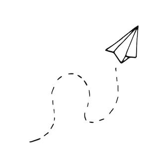 Einzelnes element des papierflugzeugs im doodle-business-set. handgezeichnete vektorgrafik für karten, poster, aufkleber und professionelles design.