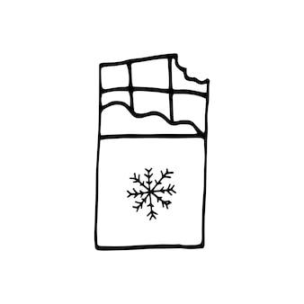 Einzelnes handgezeichnetes element der neujahrs- und weihnachtsdoodle-vektor-illustration winter-elemente
