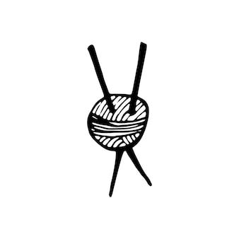 Einzelnes handgezeichnetes element des strickens von doodle-vektorillustrationsgarn im gemütlichen skandinavischen stil