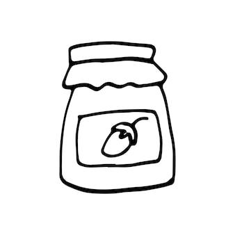 Einzelnes handgezeichnetes elementglas mit marmelade für neujahr oder herbst-doodle-vektor-illustration
