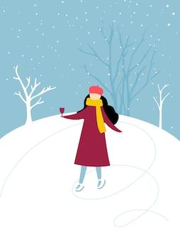 Einzelnes mädchen, das auf der eisbahn schlittschuh läuft und ein glas glühwein winteraktivität winterurlaubsspaß hält