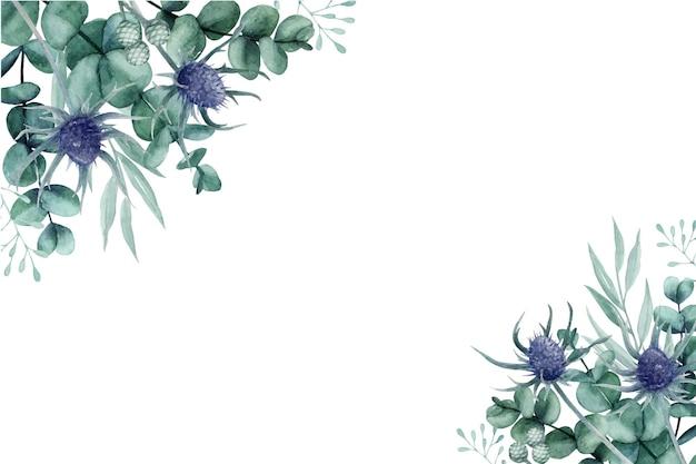 Einzigartige aquarellblaue distel mit eukalyptusblättern