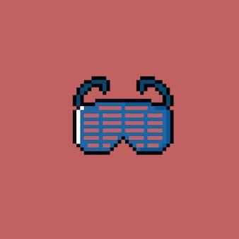Einzigartige blaue brille im pixel-art-stil