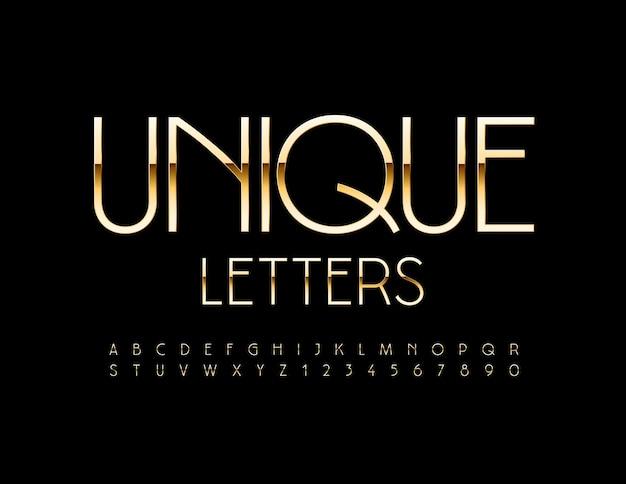 Einzigartige buchstaben und zahlen des alphabets setzen auf gold elegant font
