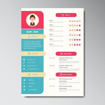 Einzigartige flache farbe curriculum vitae design-vorlage mit foto oder avatar placeholder