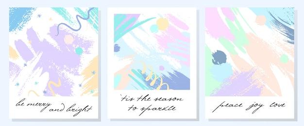 Einzigartige künstlerische feiertagskarten mit handgezeichneten formen und texturen in den weichen pastellfarben. trendiges grußdesign