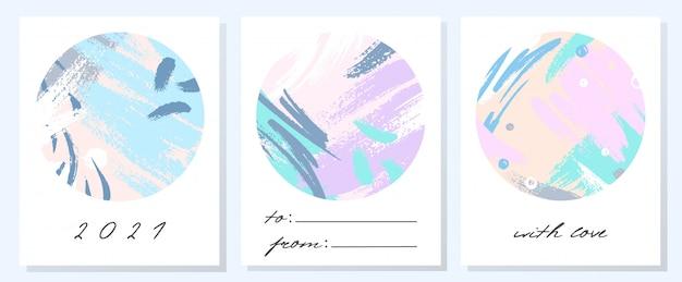 Einzigartige künstlerische feiertagskarten mit handgezeichneten formen und texturen in weichen pastellfarben. trendige grüße entwerfen perfekt für drucke, flyer, banner, einladungen, umschläge und mehr. moderne collagen.v