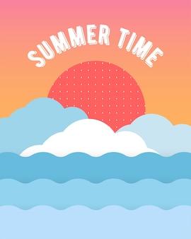 Einzigartige künstlerische sommerkarte mit hellem steigungshintergrund