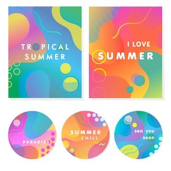 Einzigartige künstlerische sommerkarten mit hellem verlaufshintergrund, formen und geometrischen elementen im memphis-stil.