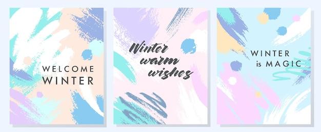 Einzigartige künstlerische winterkarten mit handgezeichneten formen und texturen in sanften pastellfarben. trendiges grafikdesign, perfekt für drucke, flyer, banner, einladungen, sonderangebote und mehr. vektorcollagen.