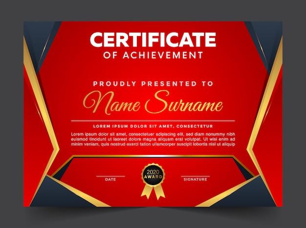 Einzigartige premium gold schwarz zertifikat und diplom vorlage
