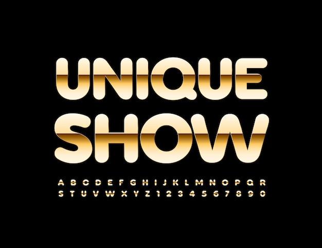 Einzigartige show golden glänzendes alphabet buchstaben und zahlen setzen luxus-stil schrift