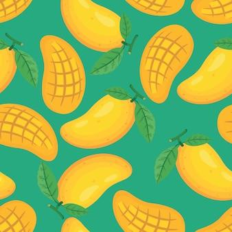 Einzigartige und modische frische gelbe mangos irregular seamless pattern.