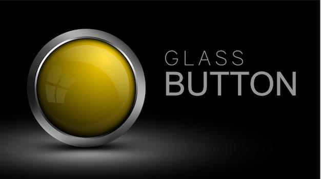 Einzigartiger gelber glasknopf