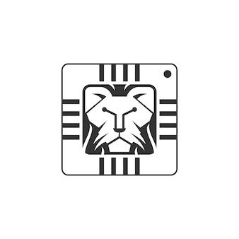 Einzigartiger löwenkopf und integrierter schaltkreis oder tech-symbol-logo-design-vektor-icon-illustration inspirat