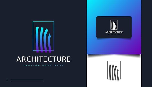 Einzigartiges architektur-logo-design mit welleneffekt für die identität der immobilienbranche. bau-, architektur- oder gebäudelogo-designvorlage