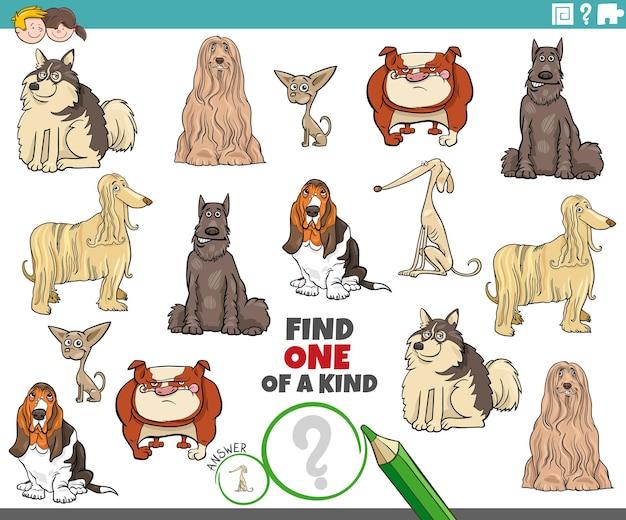 Einzigartiges bild-lernspiel mit reinrassigen cartoon-hunden