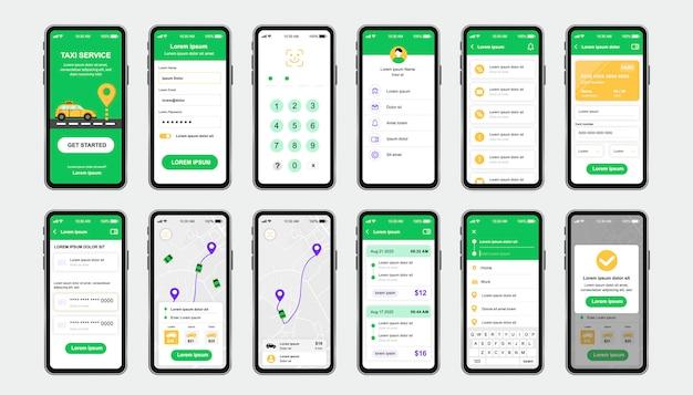 Einzigartiges design-kit für den taxiservice für die mobile app. online-taxibuchungsbildschirme mit kartennavigation und taxifahrpreis. benutzeroberfläche für personenbeförderung, ux-vorlagensatz. gui für reaktionsschnelle mobile anwendungen.