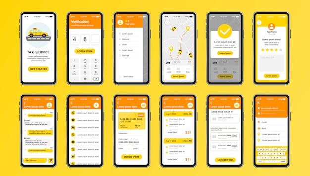 Einzigartiges design-kit für den taxiservice für die mobile app. online-taxibuchungsbildschirme mit route, chat, bewertung und taxifahrpreis. benutzeroberfläche des transportdienstes, ux-vorlagensatz. gui für reaktionsschnelle mobile anwendungen.