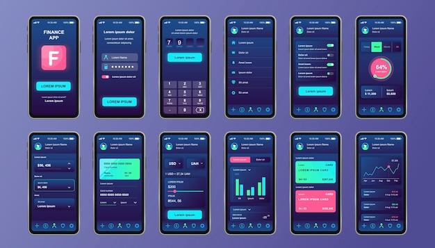 Einzigartiges design-kit für finanzdienstleistungen für mobile apps. online-banking-bildschirme mit finanzkonto und analyse. benutzeroberfläche für geldkontrolle und -verwaltung, ux-vorlagen. gui für reaktionsschnelle mobile anwendungen.