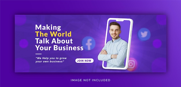 Einzigartiges konzept social media post live für digitale marketing promotion facebook cover vorlage