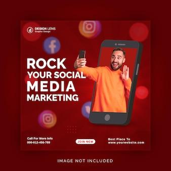 Einzigartiges konzept social media post live für digitale marketing promotion instagram vorlage