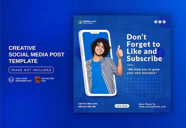 Einzigartiges konzept social media post live für digitale marketing-promotion-strategien cover-vorlage