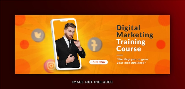 Einzigartiges konzept social media post live für digitale marketingförderung facebook cove template