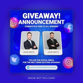 Einzigartiges konzept werbegeschenk gewinner ankündigung social media post instagram vorlage