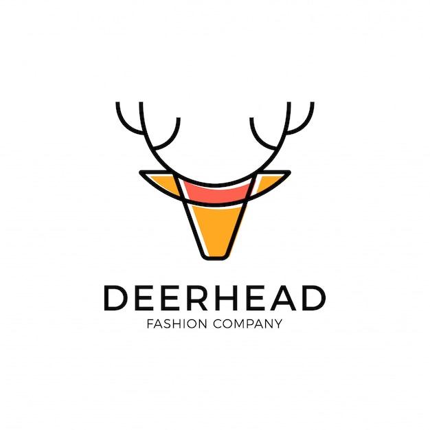 Einzigartiges luxus-hirsch-logo von minimal line fashion
