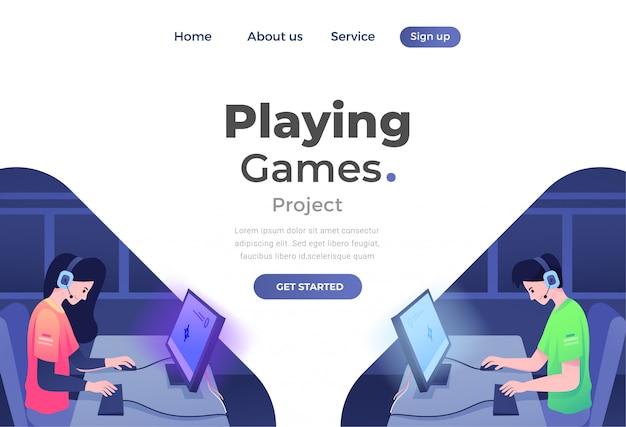 Einzigartiges modernes flaches designkonzept von gaming für website und mobile website