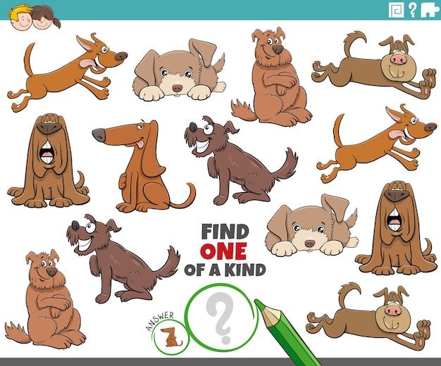 Einzigartiges spiel für kinder mit comic-hunden