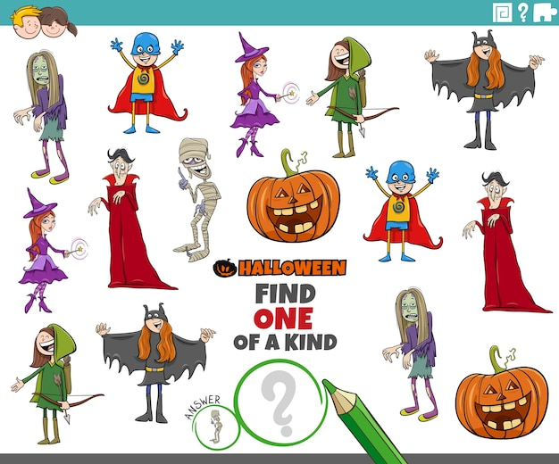 Einzigartiges spiel für kinder mit halloween-charakteren